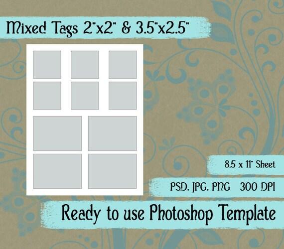 scrapbook digital collage photoshop template 2x2 etsy