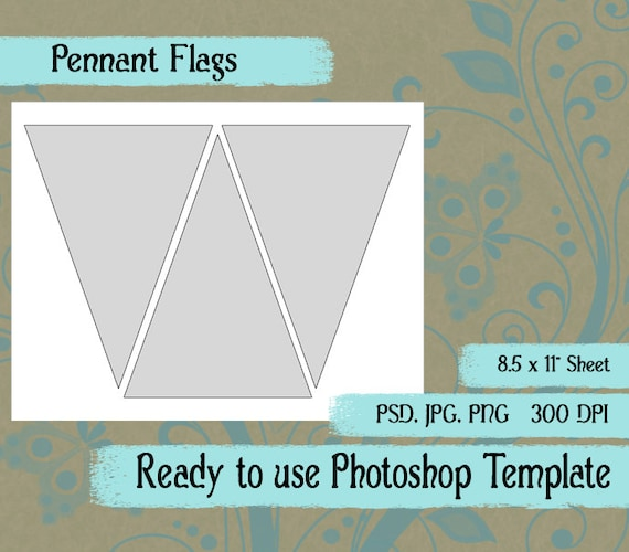scrapbook digital collage photoshop template pennant flag etsy