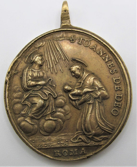 Saint Christopher Antique Religious Medal Sain Jo… - image 4