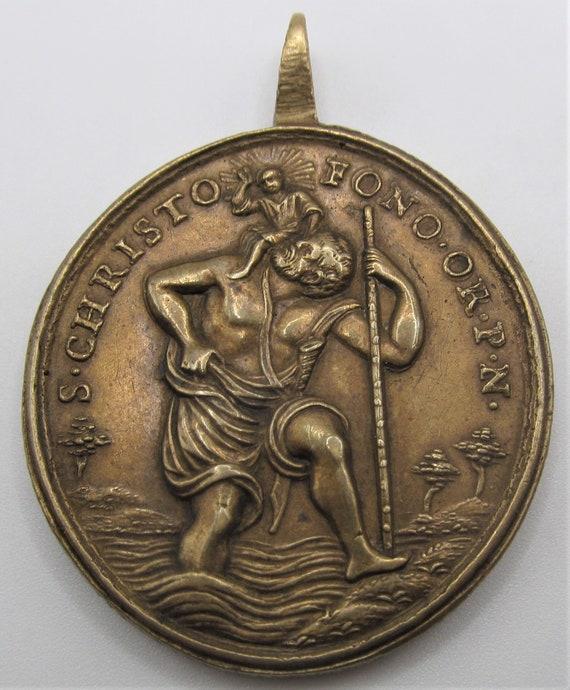 Saint Christopher Antique Religious Medal Sain Jo… - image 3