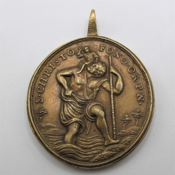 Saint Christopher Antique Religious Medal Sain Jo… - image 1