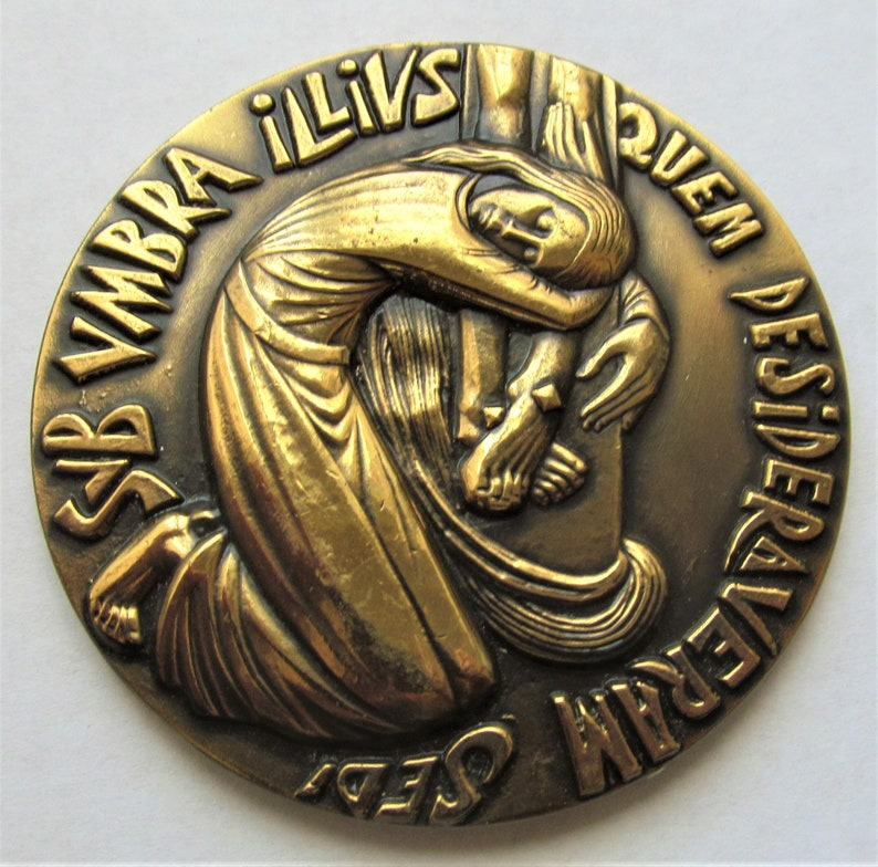 Mary Magdalene At The Cross Vintage French Bronze Religious Art Medal