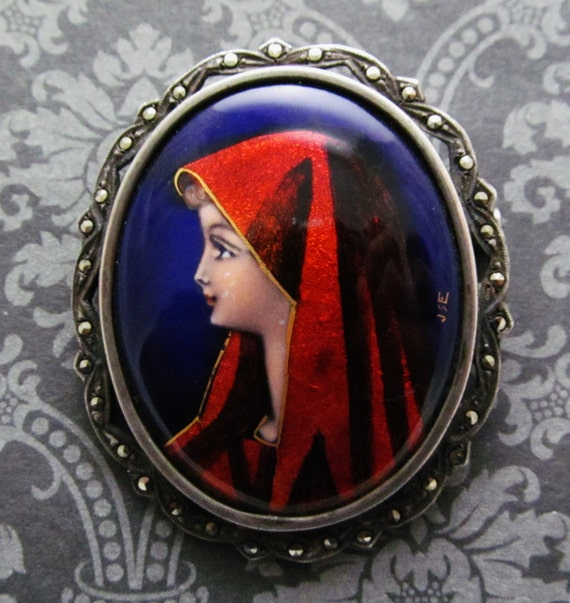 Virgin Mary Limoges Brooch Antique French Sterling