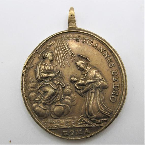 Saint Christopher Antique Religious Medal Sain Jo… - image 2