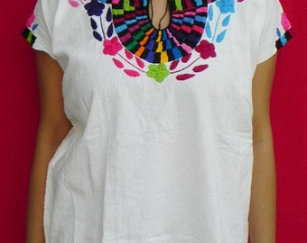 Mexican Top Blouse Fantastic Combination Very Elegant Embroidered Handmade  Medium