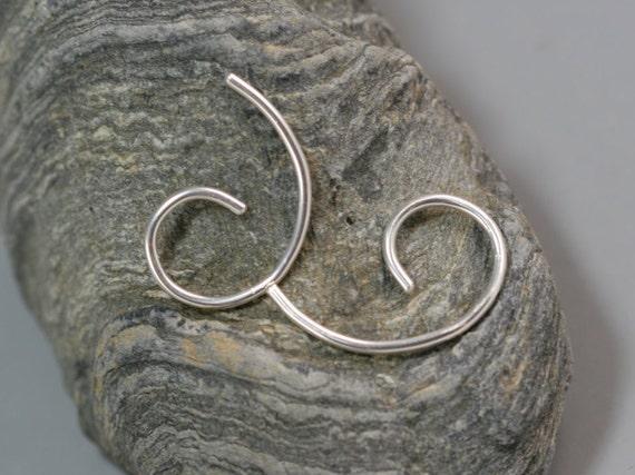 Gauged Silver Swirl Earrings 14g 16g Gauge Sterling Comma