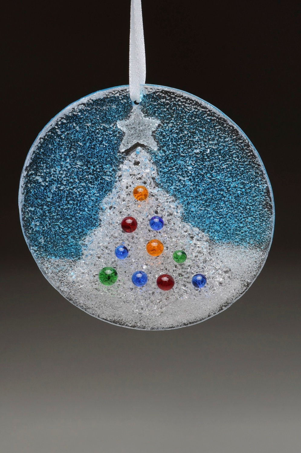 Glass Christmas Tree Holiday Hanging Ornament Fused comes ...