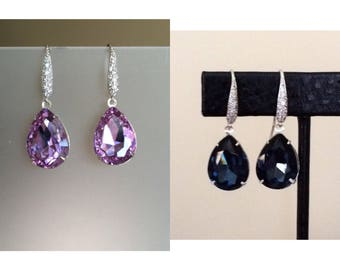 Metallic Back London Blue Crystal Earrings, Pave sterling Silver French Loop, Bridal Earrings, Wedding Jewelry, Something Blue