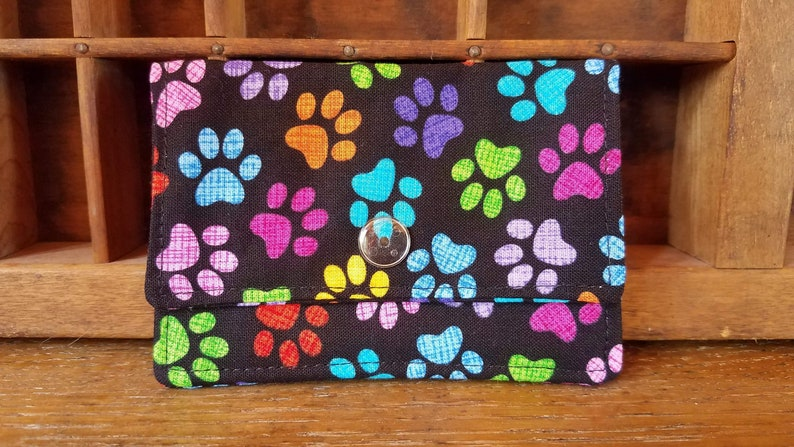 Women/'s Wallet Paw Print ID Holder Fabric Wallet Wallet Card Holder Snap Wallet Minimalist Wallet Credit Card Holder