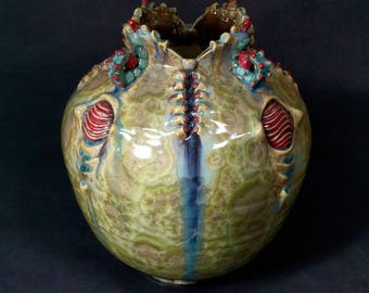 One of a Kind Handmade Crystalline Glazed Red Green Turquoise Pink Tan Beige Insect Catapillar Inspired Ceramicgoddess Art Pottery Vase