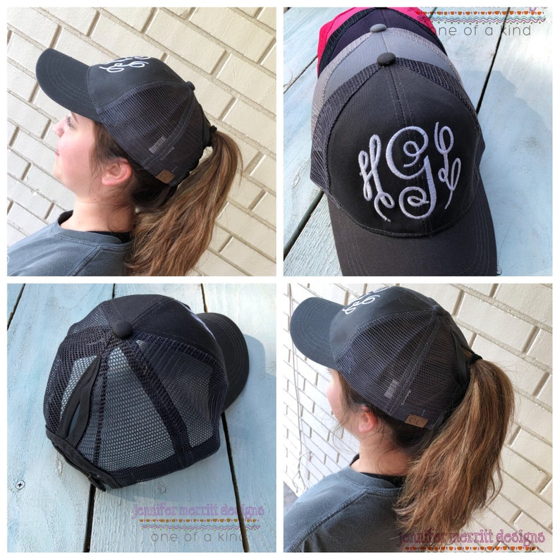 29d132ea0ee Ponytail Hat High Ponytail Cap Monogram Ponytail Hat Messy