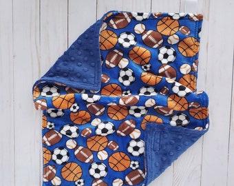 READY TO SHIP Baby boy sports lovey blanket Sports baby shower gift
