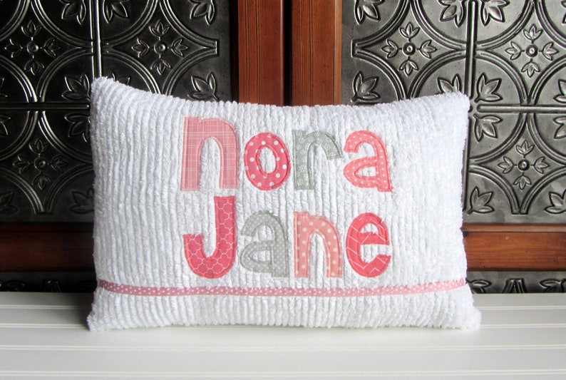 6a507dc5ae1a2 Personalized Baby Girl Pillow, Custom Name Pillow, Baby Girl Personalized  Gift, New Baby Gift for Girl, Coral and Gray Baby