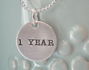 Never Apart - 1 Customizable Sterling silver Necklace Round High Quality Personalized stamped