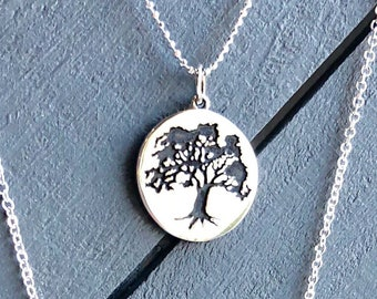 Silver Necklace Oak Tree Pendant