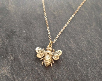 Gold Bee Necklace Honey Bee Necklace Rose Gold