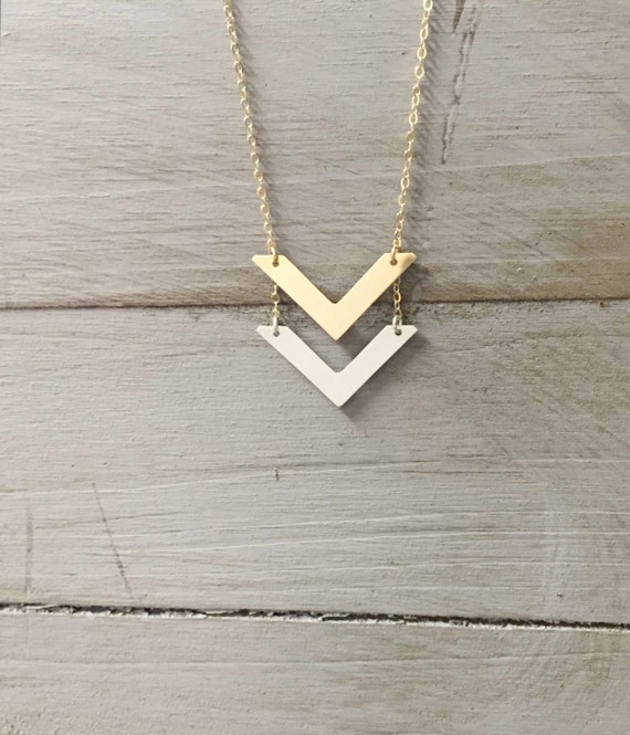 Gold Double Chevron Mixed Metals Necklace Silver Rose Gold V Etsy