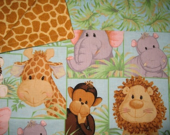 Blanket-Jungle Babies (Lg print) w/ Giraffe Skin Flannel Back