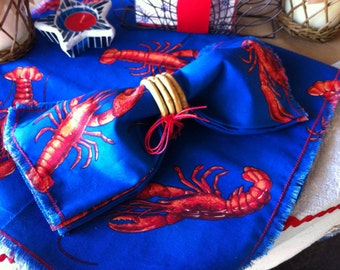 Lobster Table Runner, Frayed Edge, Red & Royal Blue, 84""