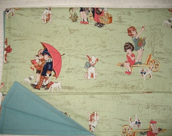 SALE!!  Blanket - Girl & Coral Umbrella, Picking Fruit w Dogs on Celery-Sage w/ Lt. Teal-Seafoam
