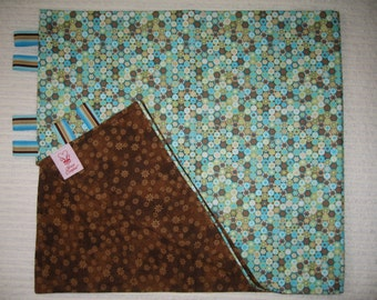 SALE!!  Blanket Retro-style Turquoise Olive Ivory Brown Circles w/Brown Floral Flannel Back