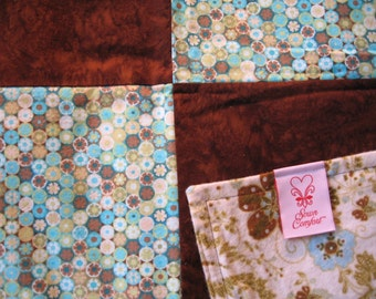 SALE!!  Blanket-Quilt-Top-Retro Turquoise Circles and Brown Batik w/ Ivory Floral Flannel Back