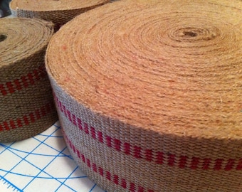 "Jute webbing with red - 3.5"" wide by 4 yards long"