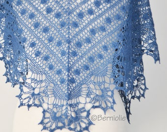 VANISHA, Crochet shawl pattern, pdf