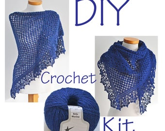 DIY haak Kit, gehaakte omslagdoek kit, ASHLEY, marineblauw, garen en patroon