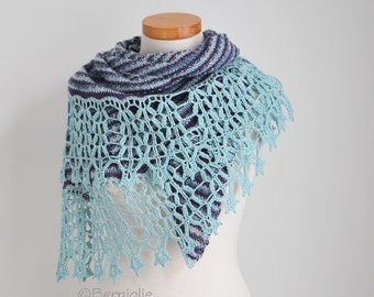 PIMA, Knitted shawl pattern with crochet trim, border, pdf