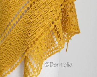 HONEY, Crochet shawl pattern, pdf