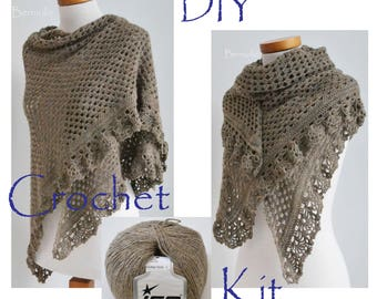 DIY haak Kit, gehaakte omslagdoek kit, ASHLEY, Camel, lichtbruin, garen en patroon