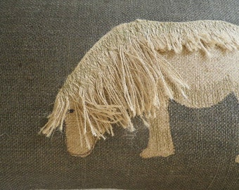 hand printed appliquéd  charcoal shetland pony cushion