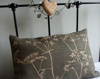 hand printed charcoal cow parsley cushion cover
