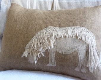 hand made appliquéd natural brown shetland pony pillow