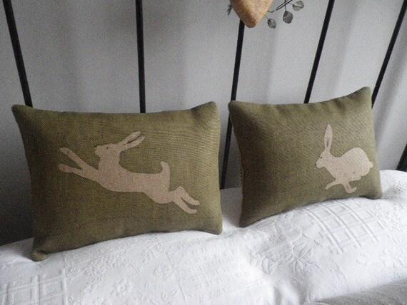 hand printed triple logo hare cushion set
