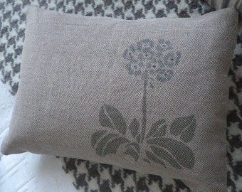 hand printed parma grey auricular flower cushion