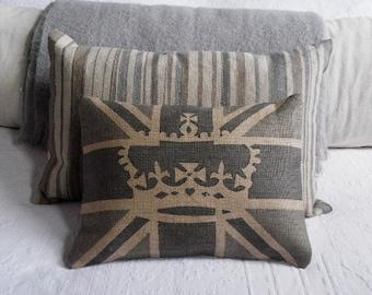 hand printed hessian greys crown and union jack flag cushion
