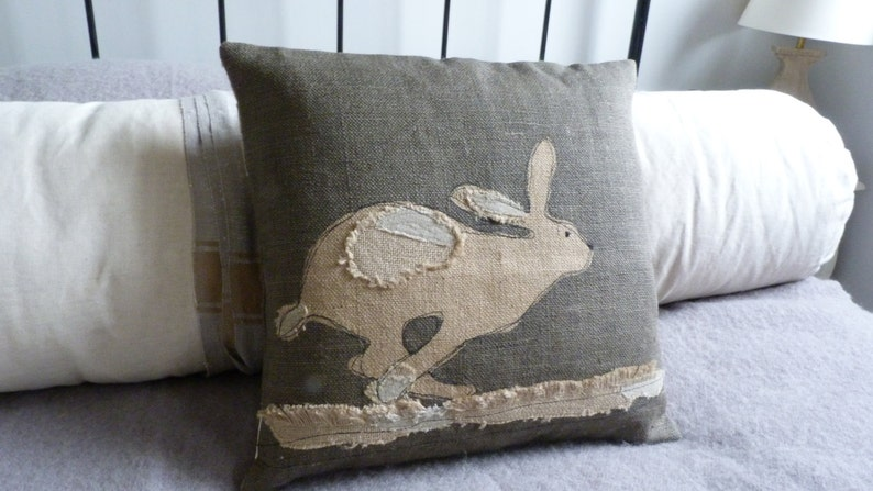 Hand printed reversible applique charcoal running hare etsy