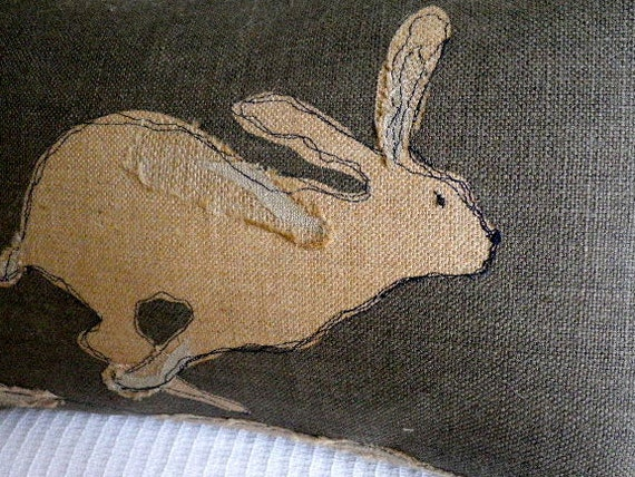Handprinted rustic hessian hare cushion cover with applique etsy