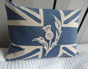 hand printed royal  blue  scottish thistle union jack flag cushion