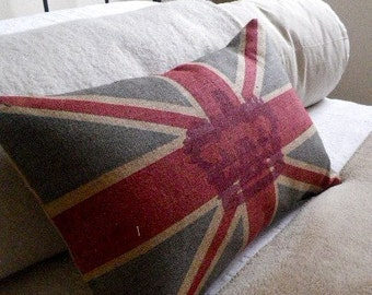 hand printed rustic union jack flag cushion cover with crown overlay