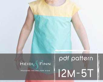 Colorblock dress pattern and tutorial 12m-5ty EASY SEW fully lined jumper tunic