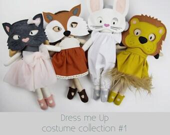 NEW Mini Pals Dress Me Up COSTUME set #1  rag doll animal sewing pattern toy felt mask fox dress jumper bunny softie stuffed clothing