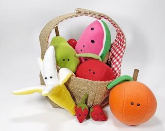 NEW Fruit friends soft plush toy pdf sewing pattern felt fleece plush toy apple banana picnic strawberry watermelon orange pear play food