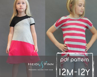 Kopic tunic dress PDF sewing pattern and tutorial 12m-12y  tunic dress jumper  easy sew