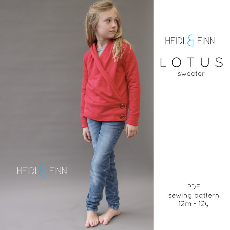 NEW Lotus Sweater PDF sewing pattern and tutorial 12m-12y wrap image 0