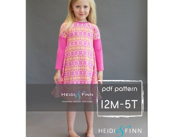 Kopic tunic dress PDF sewing pattern and tutorial 12m-5t  tunic dress jumper  easy sew