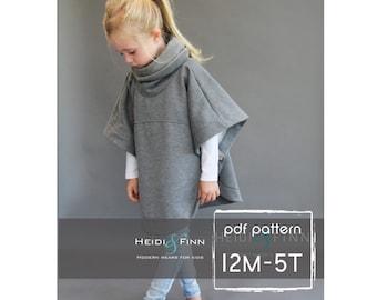 Veritas cape poncho pattern and tutorial 12m-5t  holiday jacket  coat bolero PDF