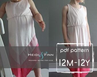 Chevron Dress pattern and tutorial PDF 12m-12y easy sew long tank dress tunic